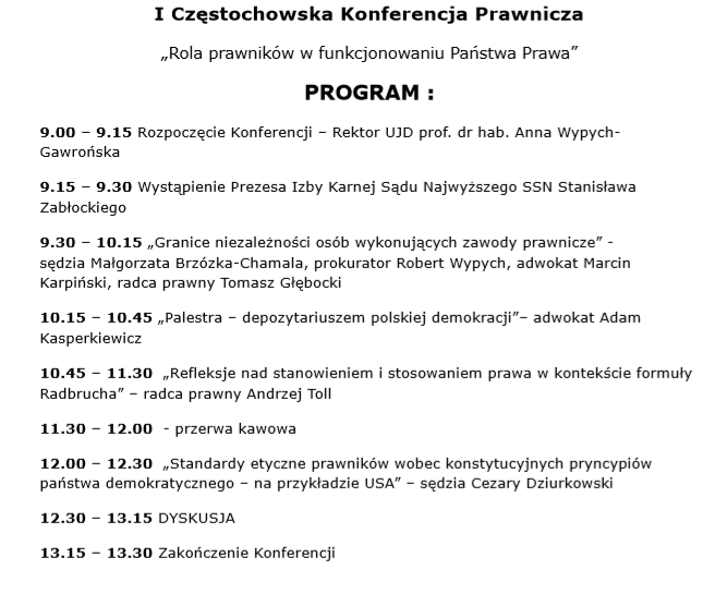 Zaproszenie Na I Częstochowską Konferencję Prawniczą